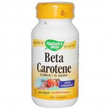 Nature's Way, Бета-каротин, 25,000 IU / D. Salina, 100 гелевых капсул