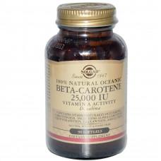 Solgar, Бета-каротин (Beta-Carotene), 25 000 МЕ, 90 мягких таблеток