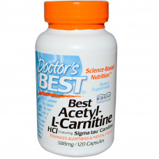 Doctor's Best, Ацетил-L-карнитин HCl, 500 мг, 120 капсул