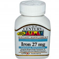 Железо, 21st Century Health Care, 27 мг, 110 таблеток