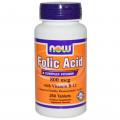 Now Foods ,Фолиевая кислота + витамин  B - 12 (Б 12) , 800 mcg, 250 Tablets